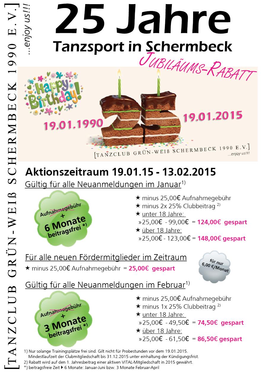 Jubiläums-Rabatt 2015